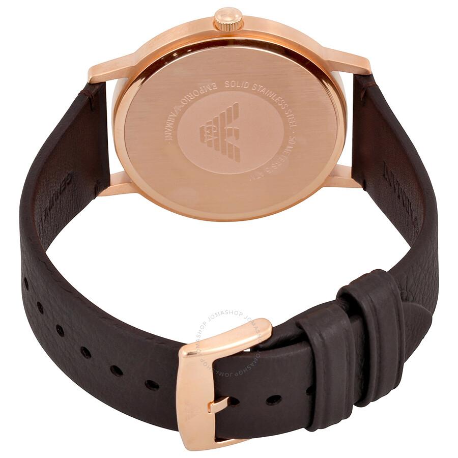 740c36b623 ... Emporio Armani Kappa White Dial Dark Brown Leather Men s Watch AR11011