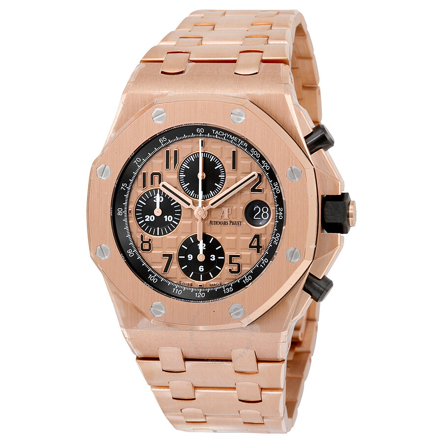audemars piguet rose dial 18kt pink gold men 39 s watch. Black Bedroom Furniture Sets. Home Design Ideas