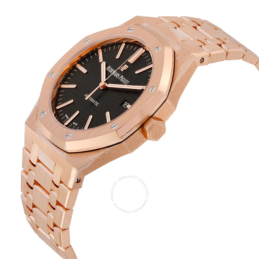 15400oroo1220or01 Audemars Piguet Royal Oak Automatic Black Dial 18kt Rose Gold Bracelet Men S Watch