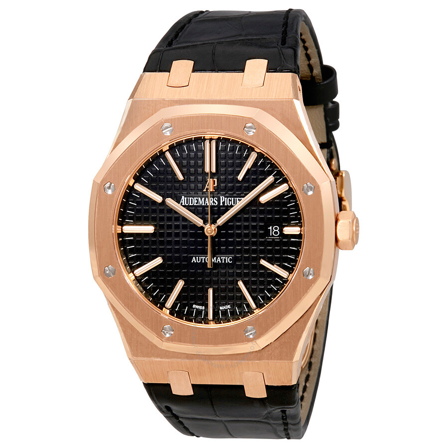 audemars piguet royal oak automatic black dial black leather strap men 39 s watch 15400orood002cr01