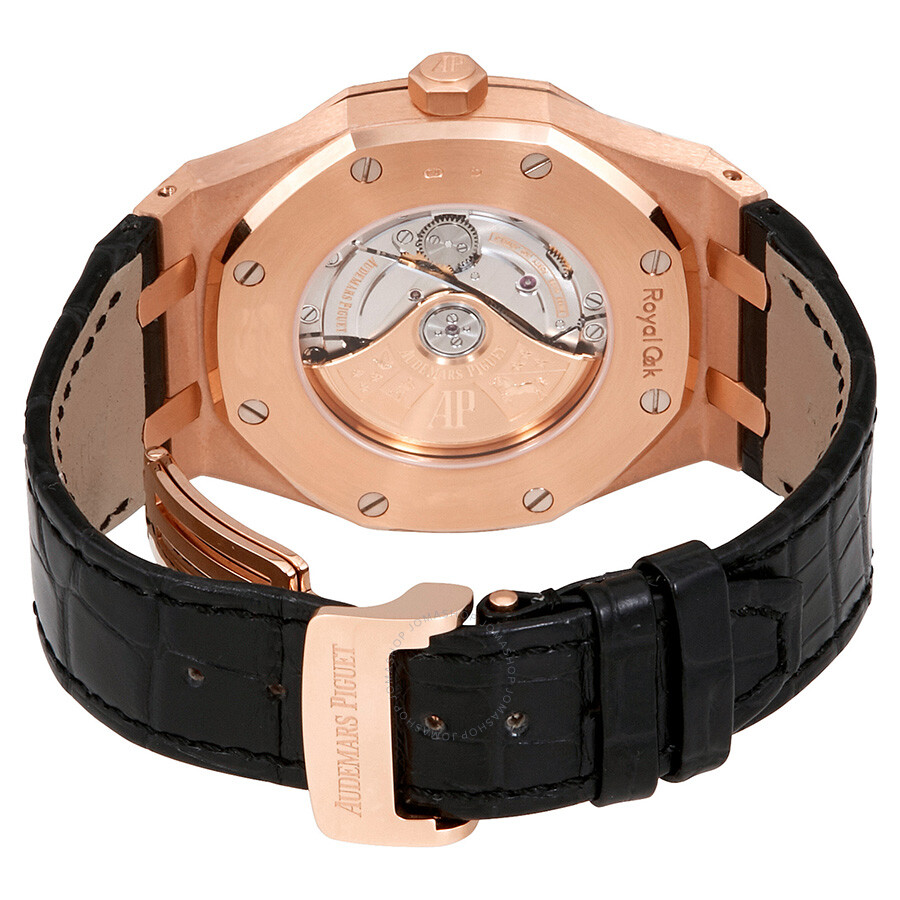 Audemars piguet royal oak automatic black dial black leather strap men 39 s watch 15400orood002cr01 for Black leather strap men