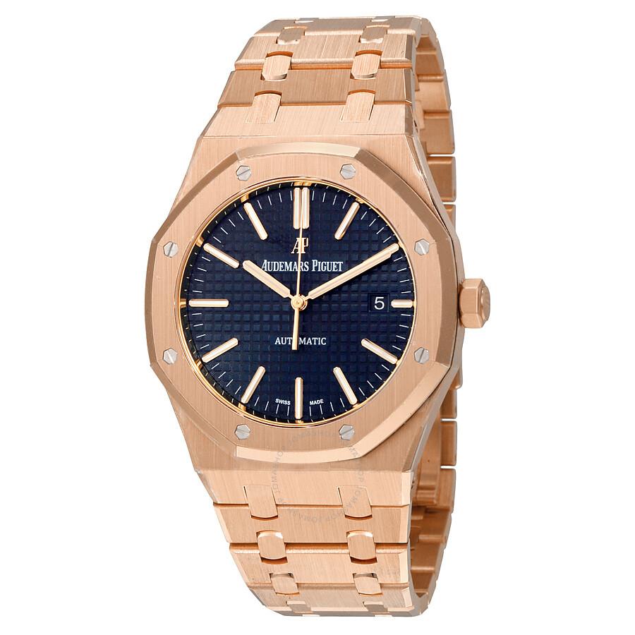 audemars piguet royal oak watches jomashop audemars piguet royal oak automatic blue dial 18kt pink gold men s watch
