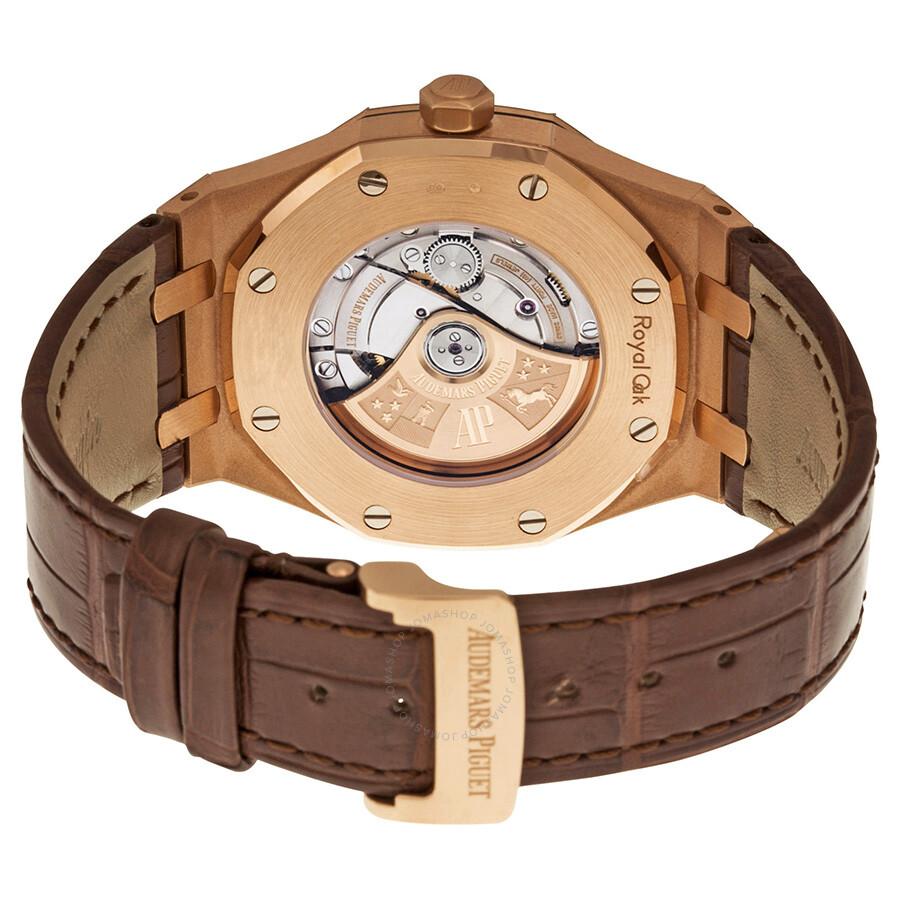 audemars piguet royal oak automatic silver dial brown leather strap men 39 s watch