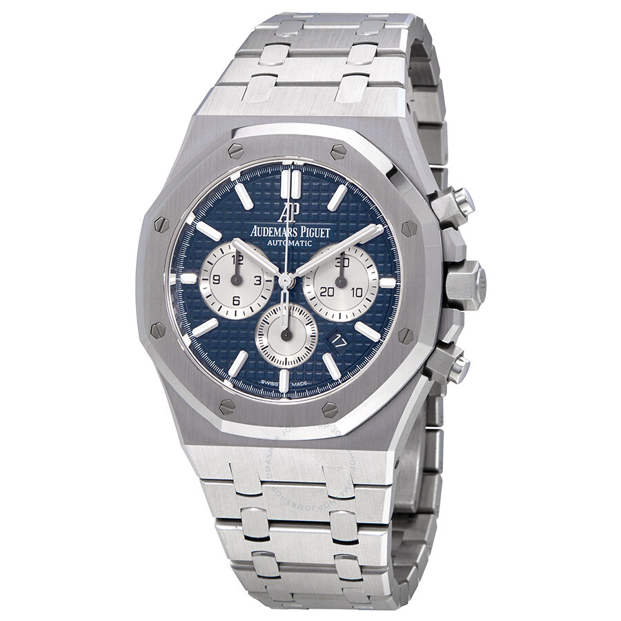 Audemars piguet royal oak blue dial automatic men 39 s chronograph watch 26331st for Audemars watches