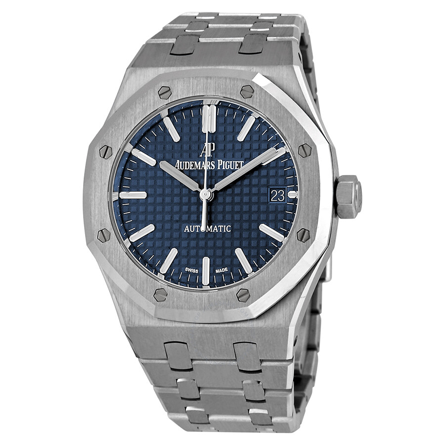 Audemars piguet royal oak blue dial automatic men 39 s watch 15450st royal oak for Audemars watches