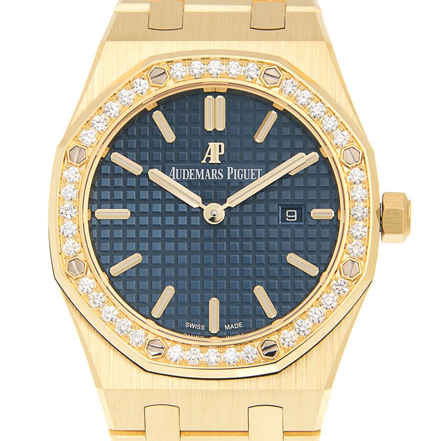 8ccd42cad186 Audemars Piguet Royal Oak Blue Dial Ladies 18 Carat Yellow Gold Watch