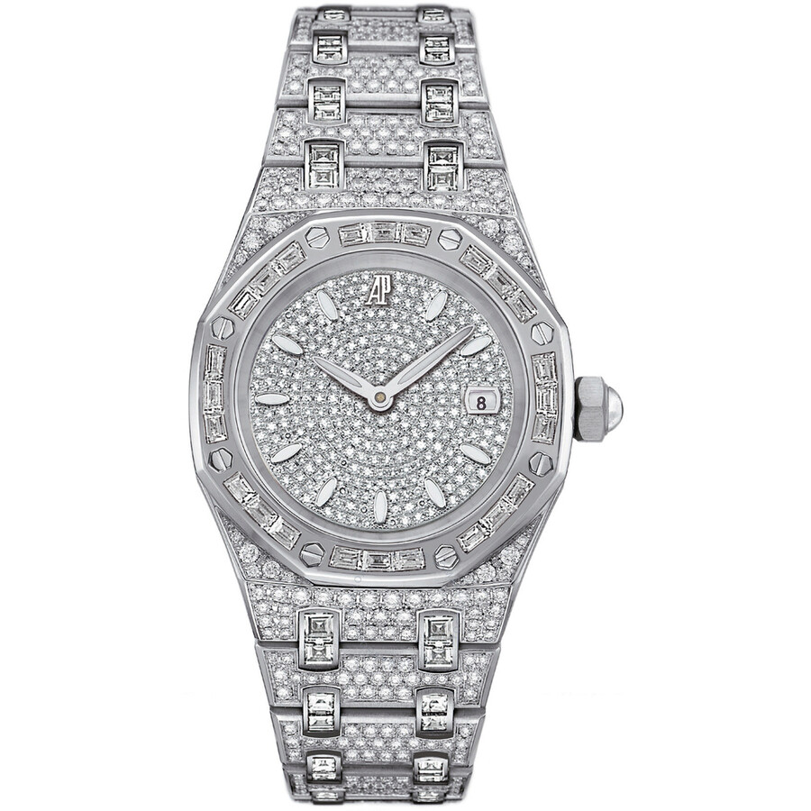 22f90b2fbffed Audemars Piguet Royal Oak Diamond Pave White Gold Ladies Watch Item No.  67604BC.ZZ.1211BC.01