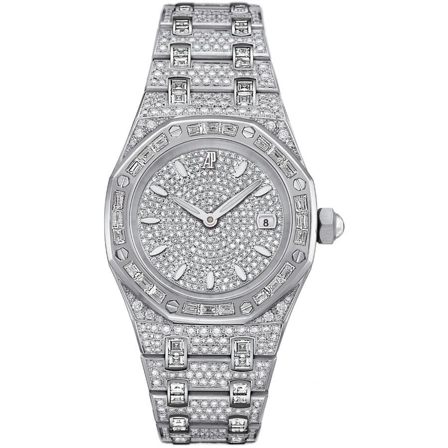 11848d586248 Audemars Piguet Royal Oak Diamond Pave White Gold Ladies Watch Item No.  67604BC.ZZ.1211BC.01