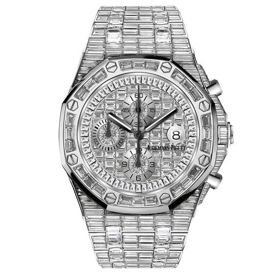 86e34c4116d6 Audemars Piguet Royal Oak Offshore 18 Carat White Gold Baguette Diamond  Paved Dial Automatic Men s Watch Item No. 26473BC.ZZ.8043BC.01