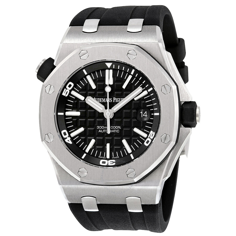 Audemars piguet royal oak offshore diver black dial black rubber men 39 s watch 15710stooa002ca01 for Audemars watches