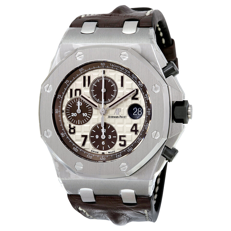 Audemars piguet royal oak offshore ivory dial brown alligator leather men 39 s watch for Audemars watches