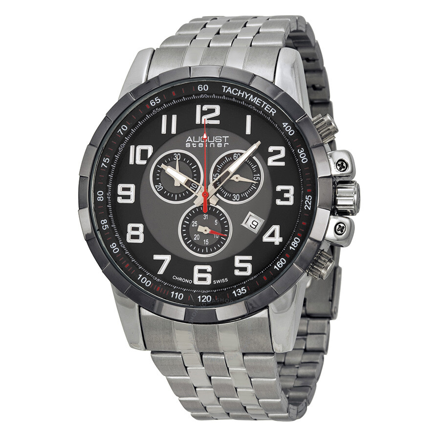 august steiner black men 39 s watch as8118ssb august steiner watches jomashop