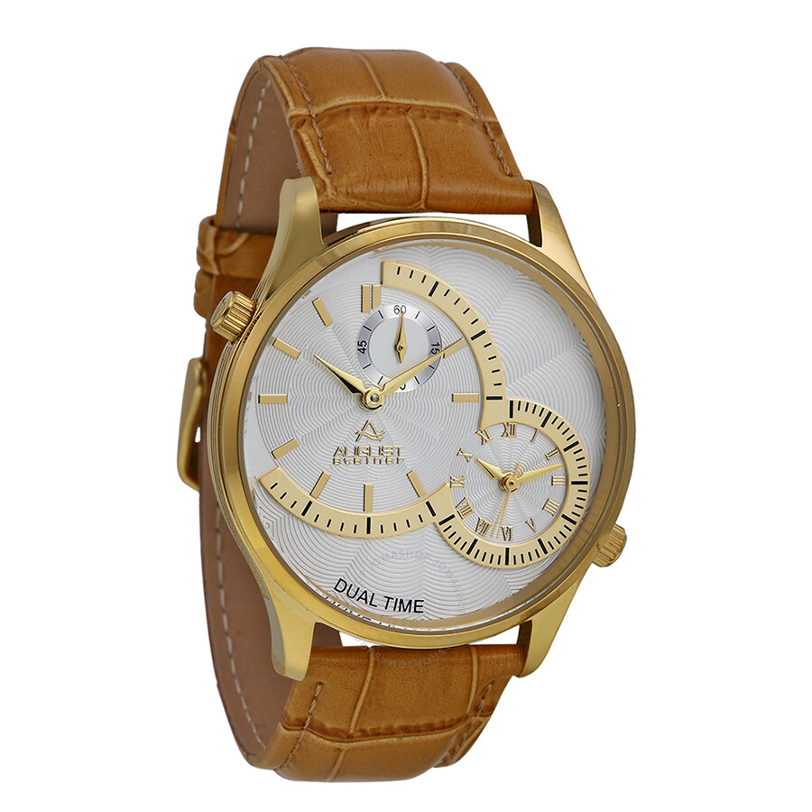 August Steiner Dual Time Gold-tone Men's Watch AS8010YG ...