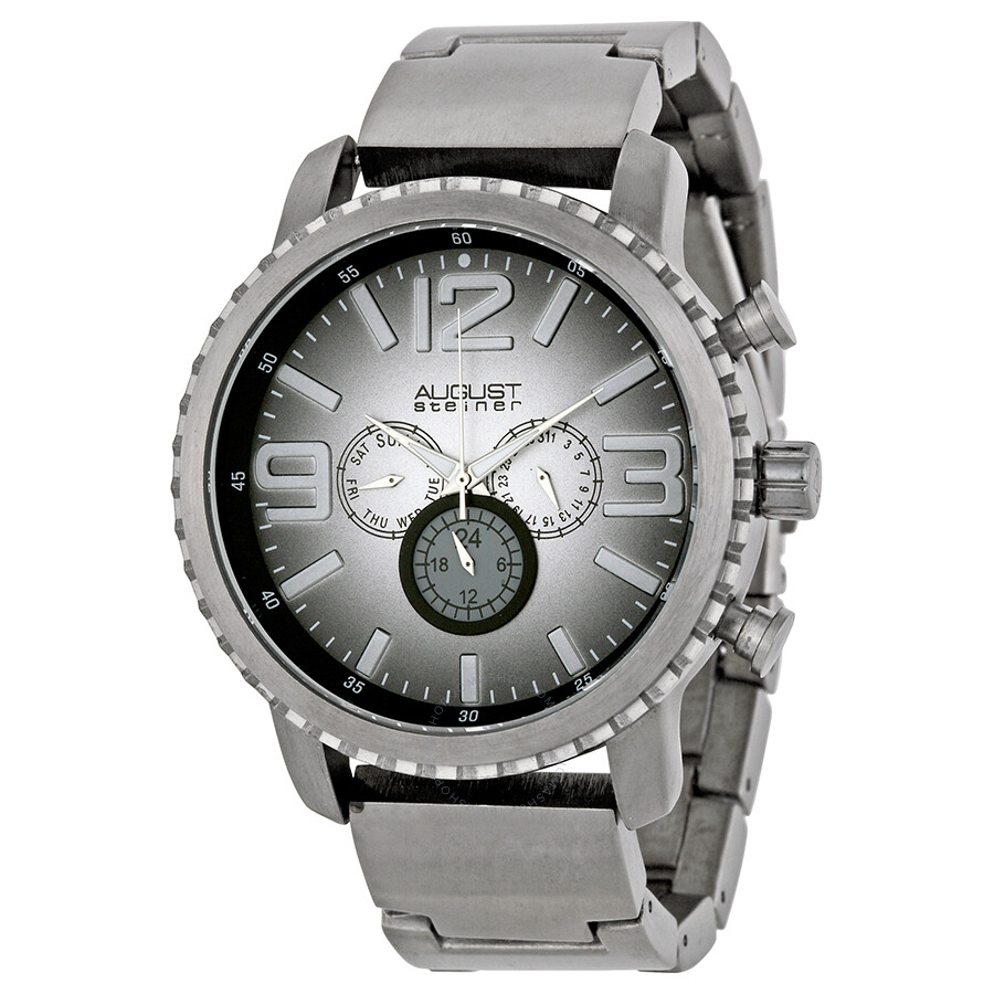 august steiner gunmetal multi function gradient dial quartz bracelet watch as8067bk august