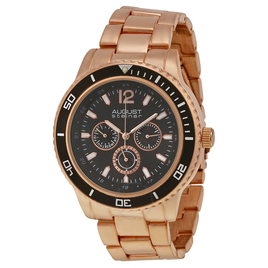 August Steiner Multi-Function Black Dial Rose Gold-Tone ...
