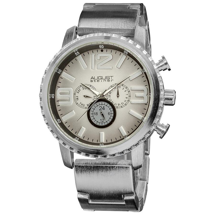 august steiner silver tone multi function gradient dial quartz bracelet watch as8067ss august