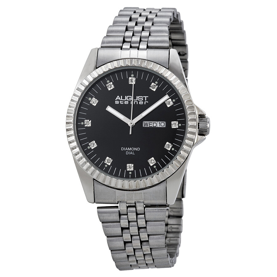 August steiner black sunray diamond dial men 39 s watch as8047ss august steiner watches jomashop for Diamond dial watch