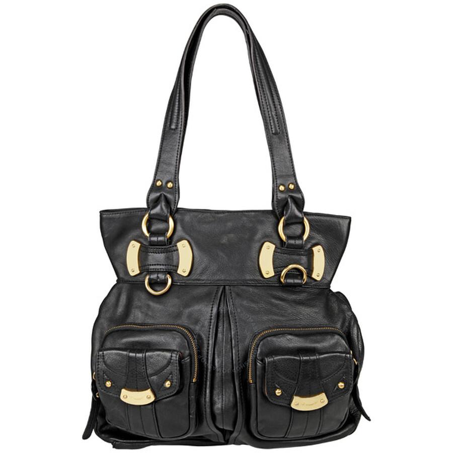 B Makowsky Manila Black Leather Per Bag Bm10520 Bk