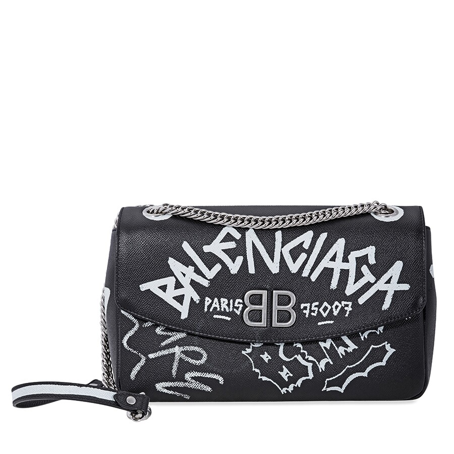 efe5eb9599c Balenciaga Graffiti Printed Crossbody Bag- Black/White Item No.  5169210OTAN-1090