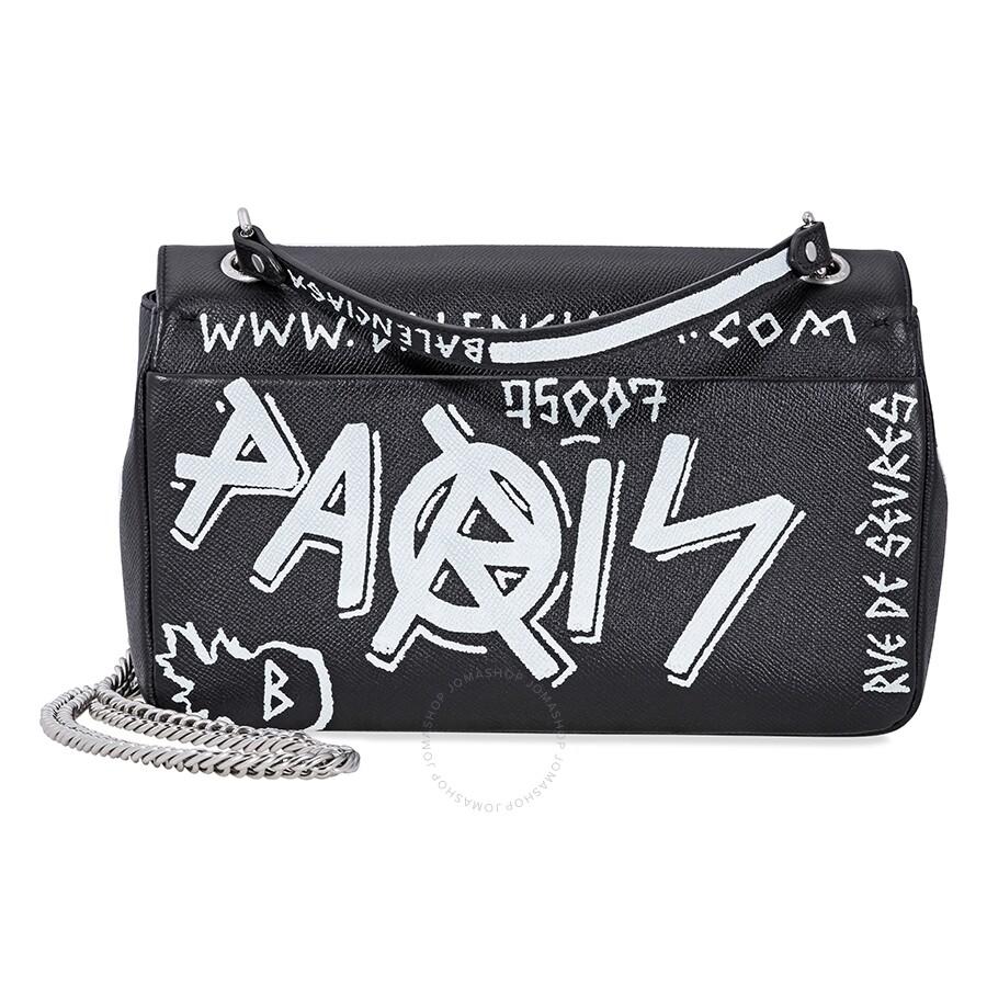 Balenciaga graffiti printed crossbody bag black white