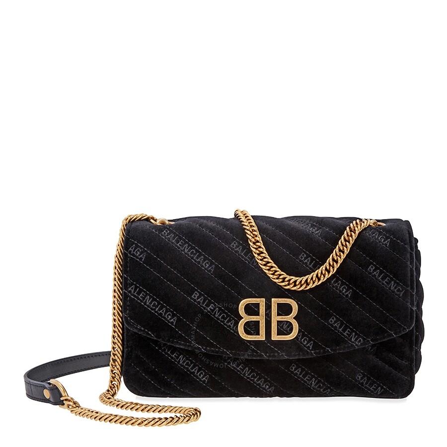Verwonderlijk Balenciaga Small BB Chain Wallet Quilted Velvet- Black IN-67