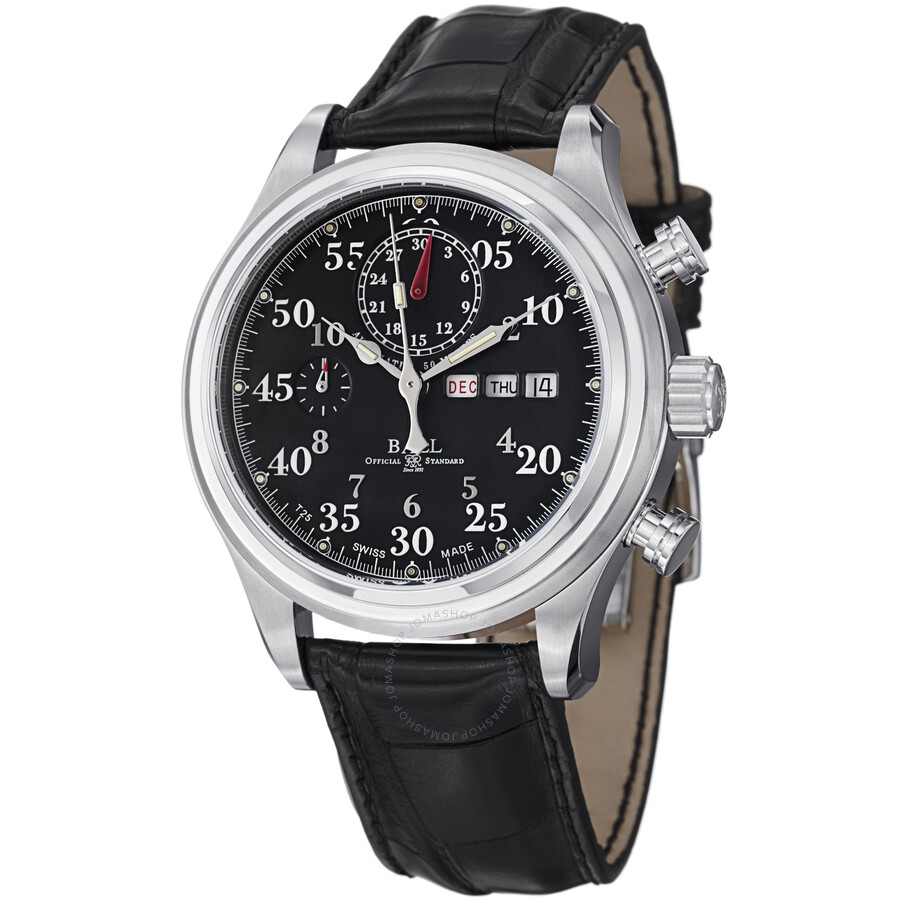 Ball trainmaster racer automatic black dial leather men 39 s watch cm1030d l1j bk ball watches for Ball watches