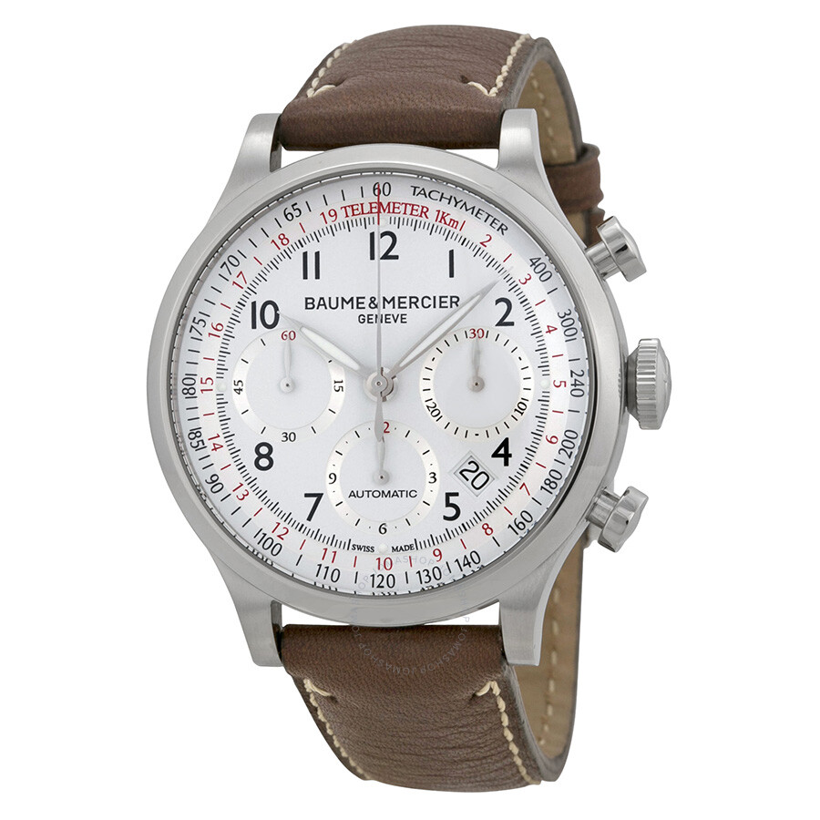 photos officielles 1b914 ed909 Baume and Mercier Capeland White Dial Chronograph Men's Watch 10000
