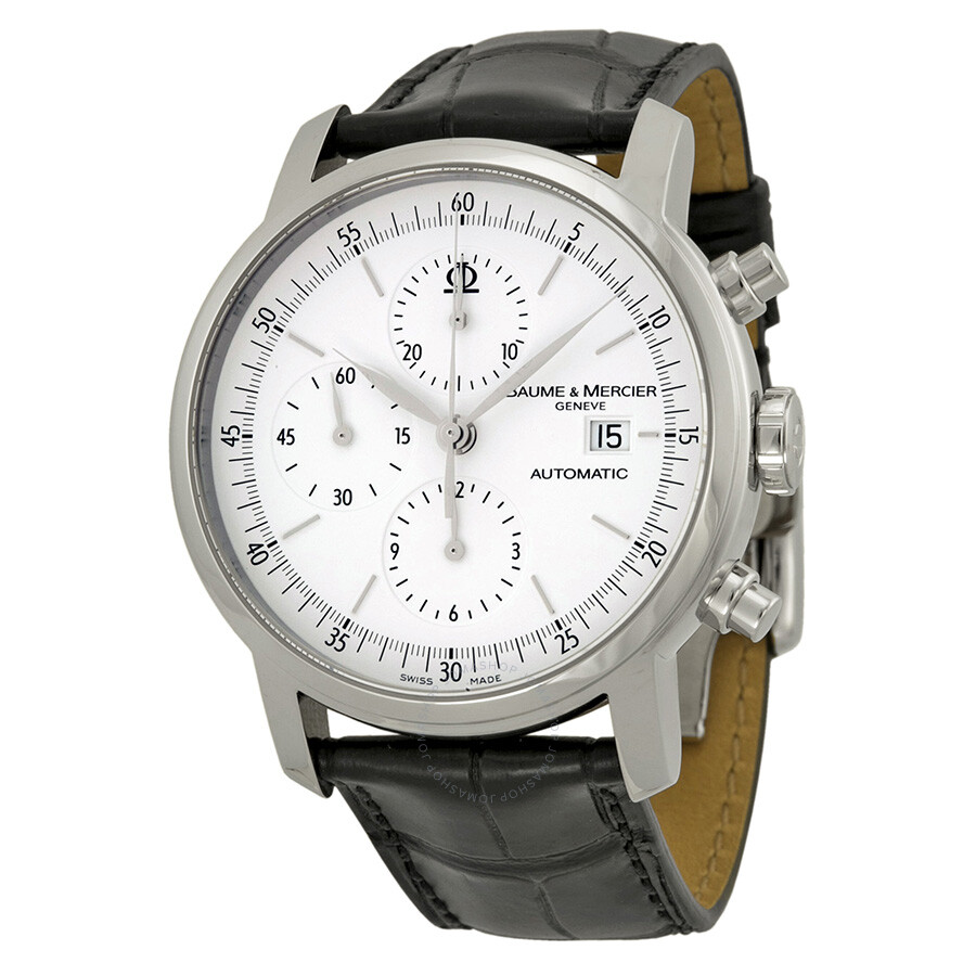 men s watches luxury fashion casual dress and sport watches baume et mercier baume and mercier classima automatic chronograph white dial black leather men s watch 8591