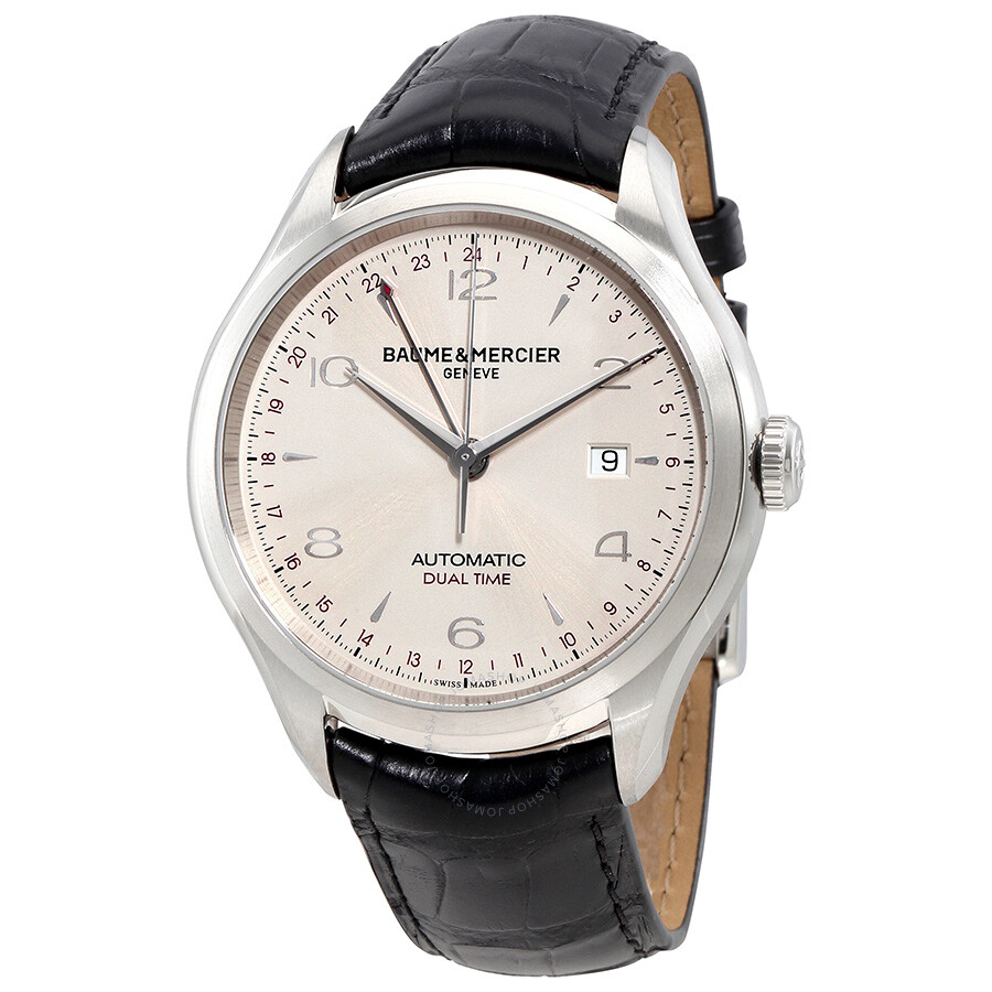 baume and mercier clifton dual time silver s