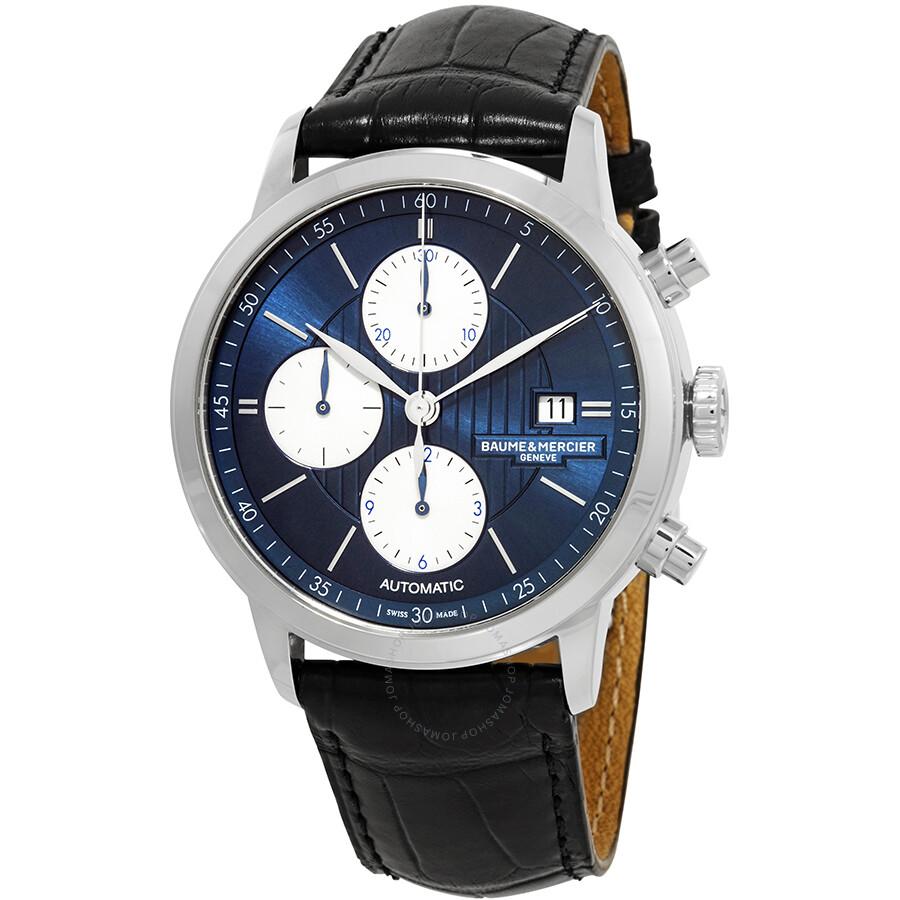 84a010023d2 Baume et Mercier Classima Chronograph Automatic Blue Dial Men s Watch 10373  ...