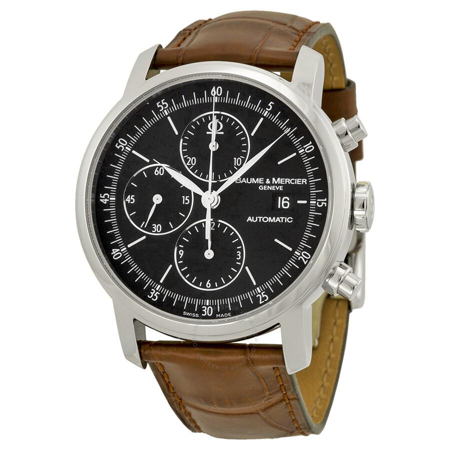 baume et mercier classima chronograph black leather