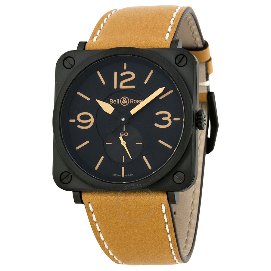 Bell and ross aviation black dial tan leather men 39 s watch brs heritage sca aviation bell and for Black tan watch