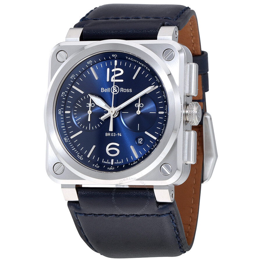 bell and ross aviation blue dial automatic men 39 s leather. Black Bedroom Furniture Sets. Home Design Ideas