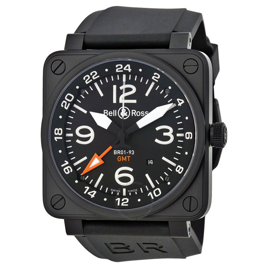 bell and ross aviation gmt automatic black dial 46mm men 39 s watch br 01 93 gmt aviation bell. Black Bedroom Furniture Sets. Home Design Ideas