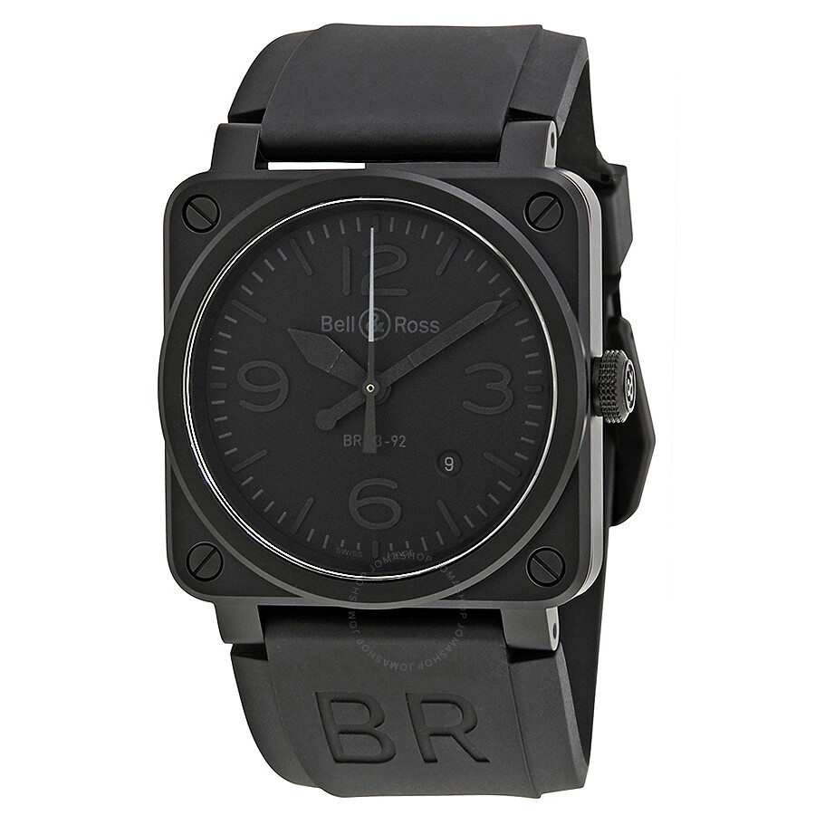 bell and ross aviation phantom all black dial automatic 42mm men 39 s watch br 03 92 phantom. Black Bedroom Furniture Sets. Home Design Ideas