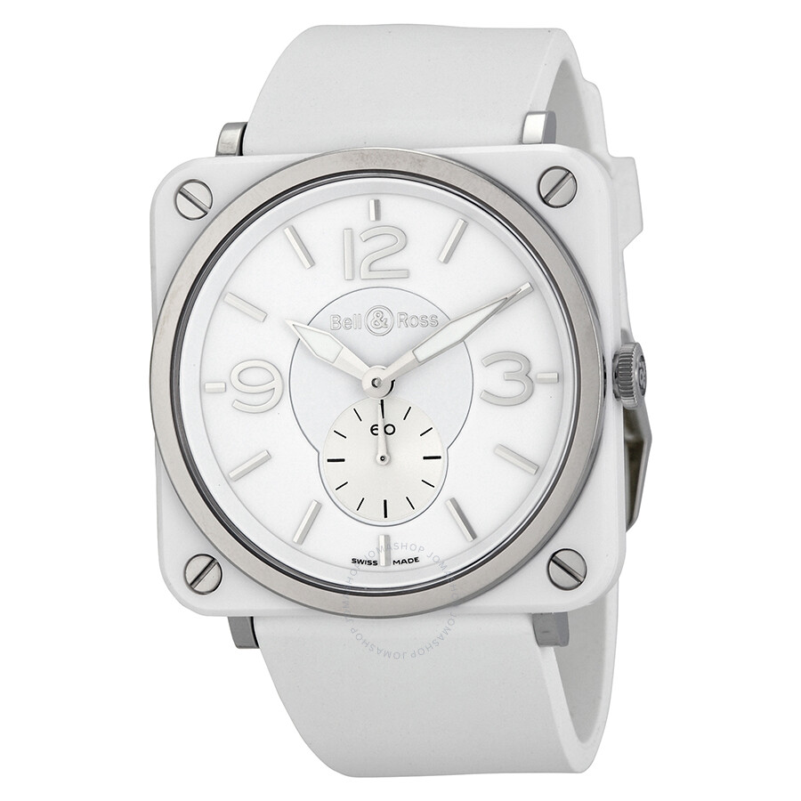 e9b0bf520 Bell and Ross Aviation White Dial Ceramic Unisex Watch BRS-WHT-CER-RUBB  Item No. BRS-WH-CERAMIC/SRB