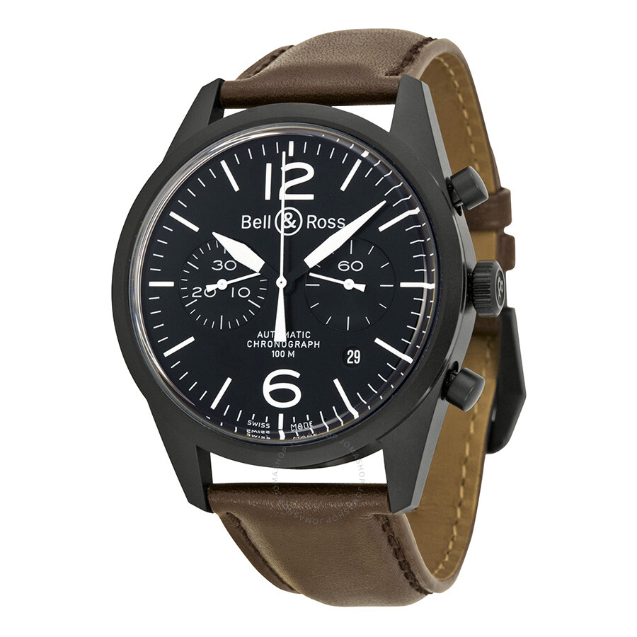 bell and ross black dial chronograph brown leather. Black Bedroom Furniture Sets. Home Design Ideas