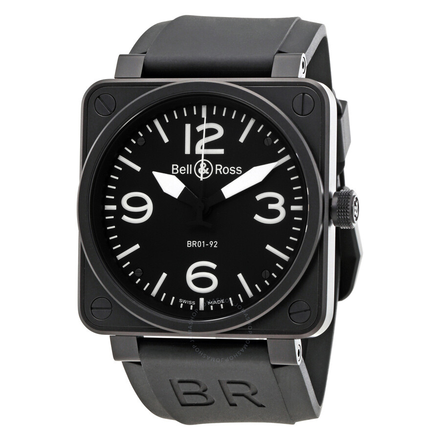 bell and ross black dial stainless steel men 39 s watch. Black Bedroom Furniture Sets. Home Design Ideas