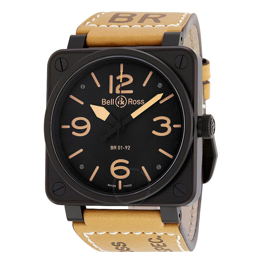 bell and ross heritage black dial tan leather men 39 s watch. Black Bedroom Furniture Sets. Home Design Ideas