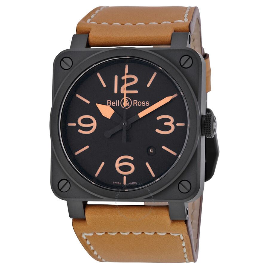 bell and ross heritage ceramic black dial tan leather men. Black Bedroom Furniture Sets. Home Design Ideas