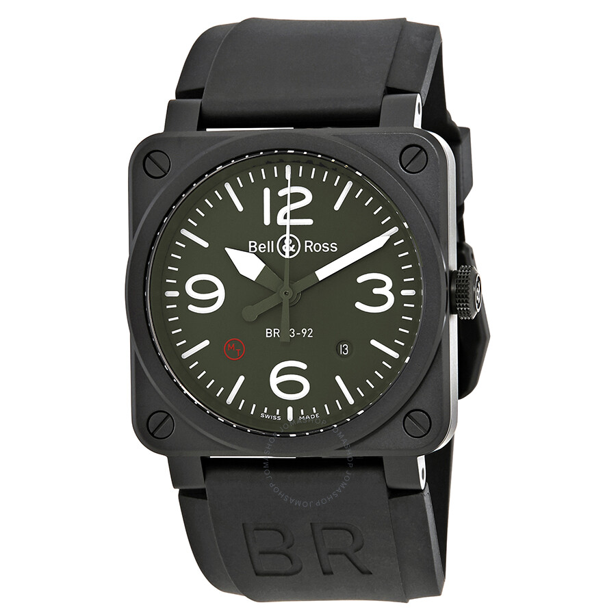 2dd057c2678 Bell and Ross Military Type Automatic Olive Dial Men s Watch BR0392-MIL ...