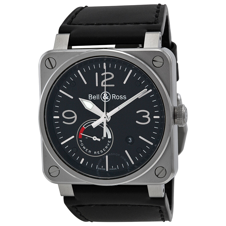 bell and ross officer automatic black dial black leather. Black Bedroom Furniture Sets. Home Design Ideas