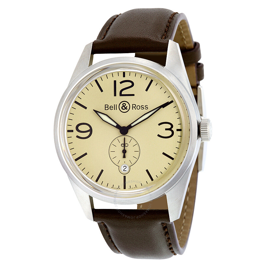 f4b460f46f0 Bell and Ross Vintage Automatic Beige Dial Brown Leather Men s Watch  BRV123-BEI-ST ...