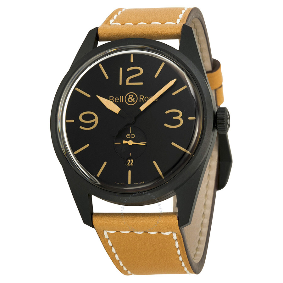 bell and ross vintage black dial tan leather men 39 s watch. Black Bedroom Furniture Sets. Home Design Ideas