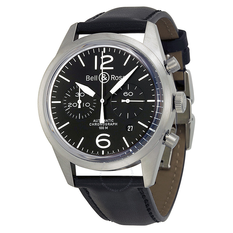 bell and ross vintage chronograph black dial black leather men 39 s watch brv126 bl st sca. Black Bedroom Furniture Sets. Home Design Ideas
