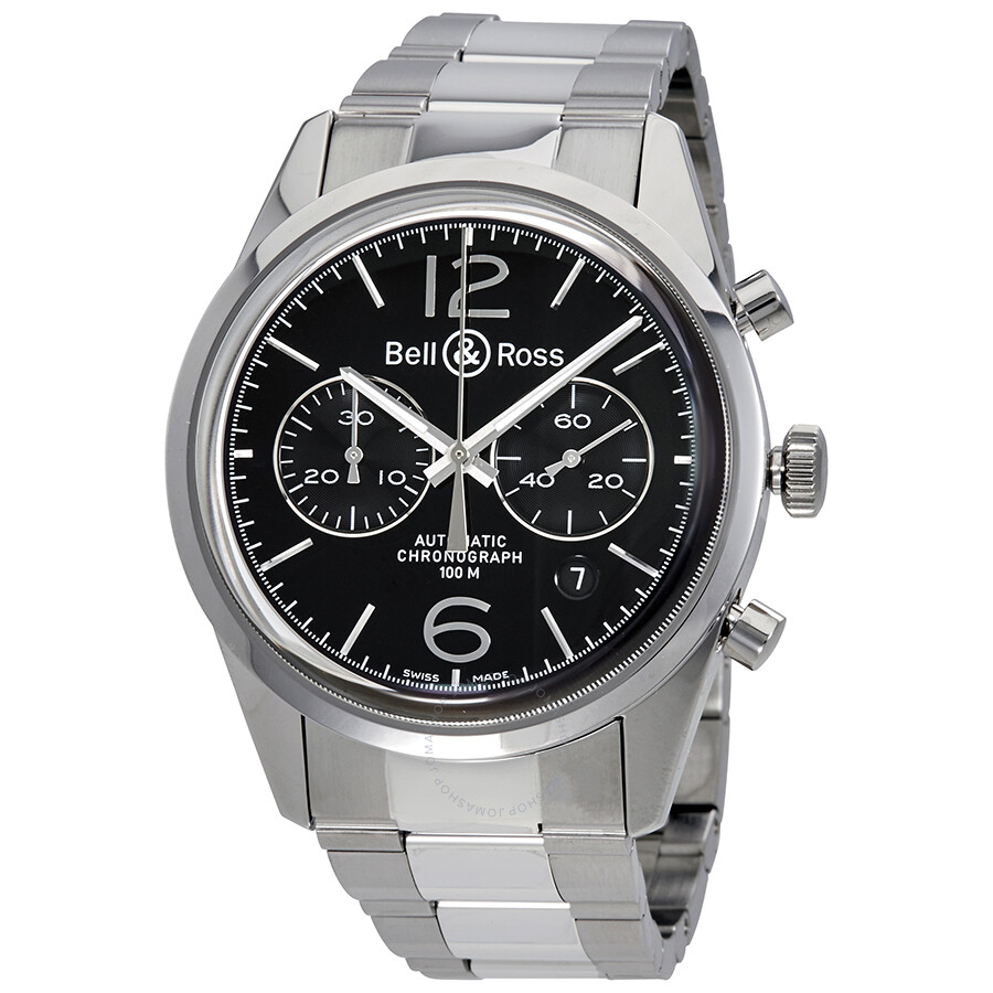 new product eb220 526f4 Bell and Ross Vintage Chronograph Black Dial Men's Watch BR126-BL-BE-SS