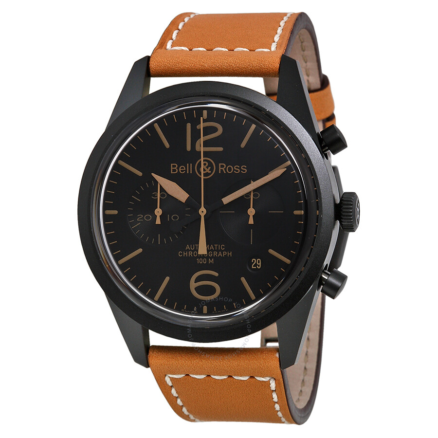 timeless design fd1ae c8349 Bell and Ross Vintage Heritage Black Dial Tan Leather Men's Watch  BR126-HERITAGE