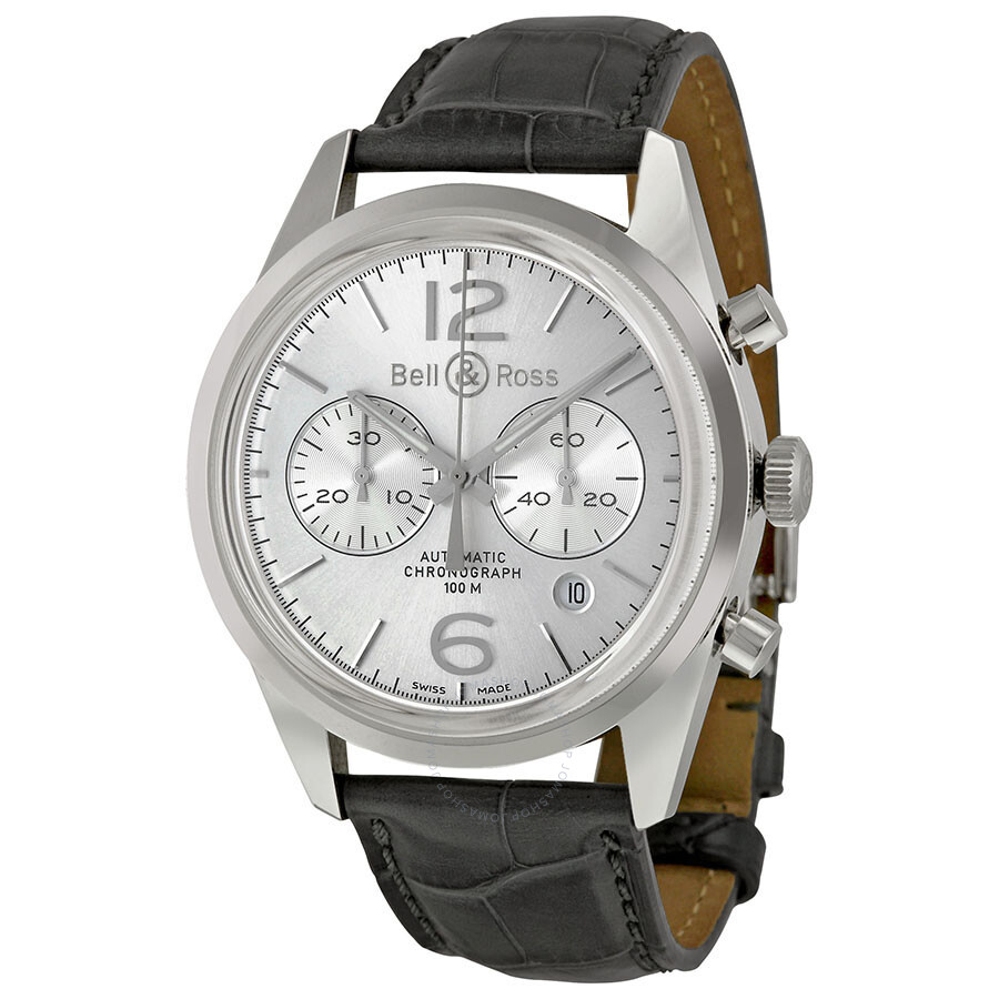 Bell and Ross Vintage Officer Silver Dial Stainless Steel Grey Leather Men's Watch BRG126-WH ...