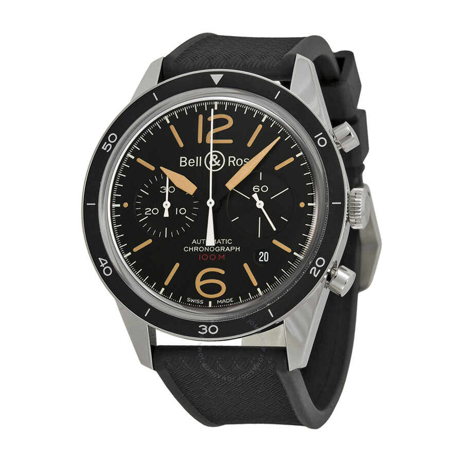 Bell and Ross Vintage Sport Heritage Black Dial Automatic Men's Watch BRV126-ST-HER-SRB