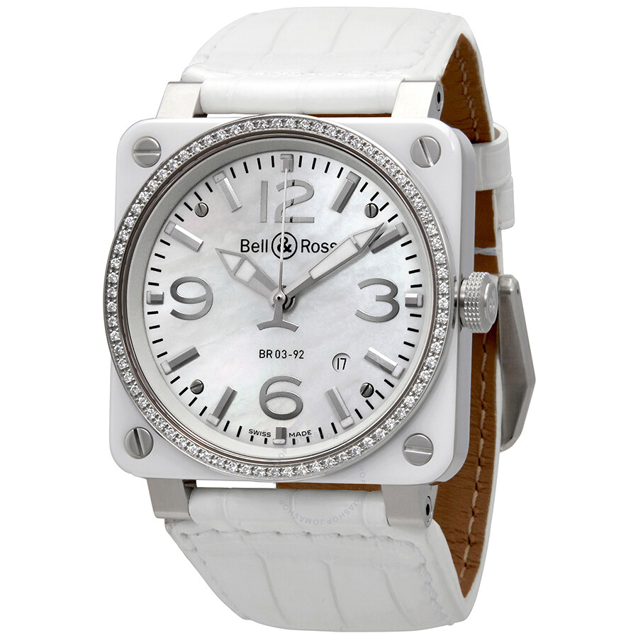 755eb08f4 Bell and Ross White Ceramic Diamond Mother of Pearl Unisex Watch BR0392-WH-C-D-SCA  Item No. BR0392-WH-C-D/SCA